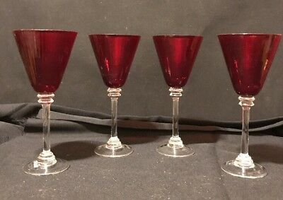 "Ruby Red Pier1 Wine Goblets 9 1/2"" Tall"