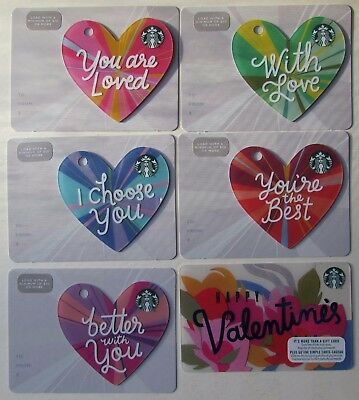 Starbucks Canada 2018 Die Cut Valentine Gift Cards no value
