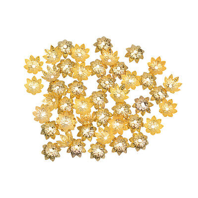 100 Gold Plated Lotus Flower Bead Caps Connectors 9.5mm for Jewelry Making