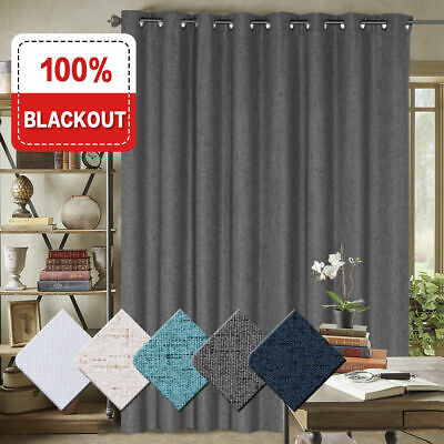 1x Extra Wider 100% Blackout Curtain for Bedroom Linen Textured Blockout Curtain