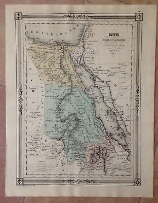 EGYPT NUBIA ABYSSINIA 1852 BY CHARLE ANTIQUE COPPER ENGRAVED MAP XIXe CENTURY
