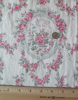 French Antique Rose, Baskets & Ribbons Cotton Faded Fabric c1918~Reserved