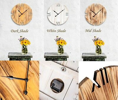 Quality Hand Made Shabby Vintage Wooden Wall Clock Living Room Kitchen Office