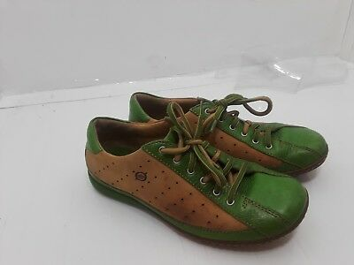 93c17d7ecd0a4 Born Hawkeye Women's Leather Lace up Oxfords Green Tan Shoes Size 7.5M  (W7578 )