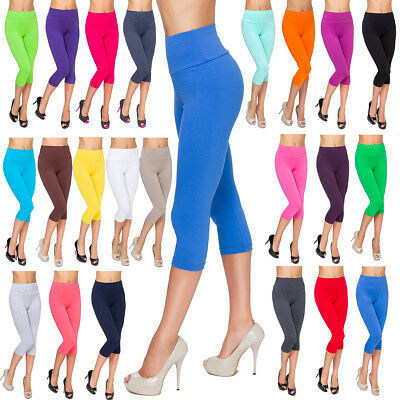 Ladies Casual Cropped Leggings Comfy High Waist Cotton Size 8-22 3/4 Pants LWP34