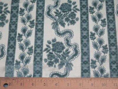 "French Vintage Cotton Or Silk Velvet Roses & Ribbons Fabric Sample c1940~15""X12"""