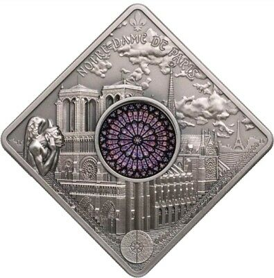 2017 50g Silver Palau $10 NOTRE DAME CATHEDRAL Sacred Art Holy Windows Coin.