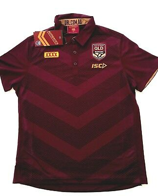 2018 Men's Queensland QLD State Of Origin Maroons NRL Media Polo Shirt NWT ISC