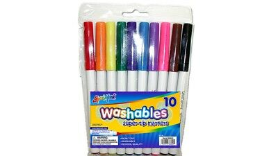Washable Markers. Assorted Color. Fine Tip. Pack of 10.