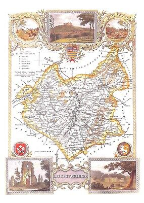 Thomas Moule.Leicestershire.10 Reproduction county maps.Art.Artist.County map