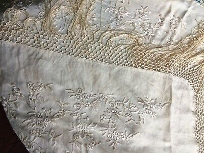 1920s Silk Ivory Embroidered Fringed Small 23 x 22 Upright Piano Shawl
