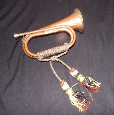 Old Military Copper & Brass Bugle With Cord & Removable Mouthpiece -No Reserv