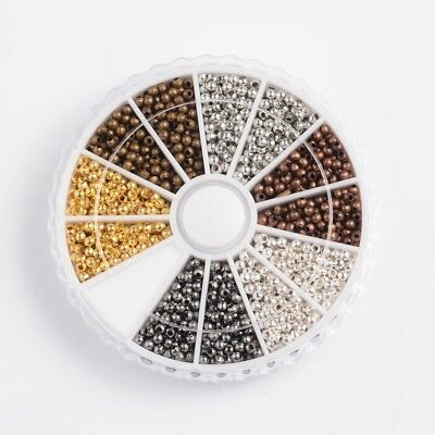948Pcs Tiny Metal Round SmoothSpacer Beads Assorted 6 Colors for Jewelry Making