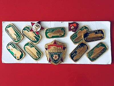 Collection Of 12 Vintage Russian Military And Tank Badges