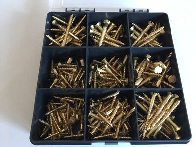SOLID BRASS SLOTTED COUNTERSUNK WOOD SCREWS ASSORTED BOX 250 Pieces 8 sizes