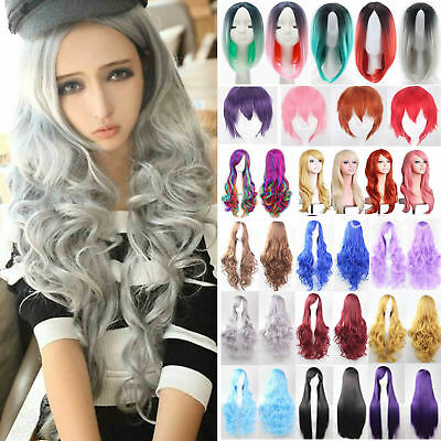 Womens Ombre Hair Full Wig Curly Wavy Straight Heat Resistant Wigs Cosplay Fancy