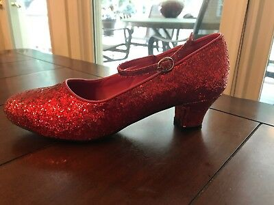 Womens Red Glitter Mary Jane Shoes Sz 9 Dorothy