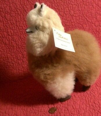 "7"" by 8.5"" REAL GENUINE ALPACA WOOL LLAMA PERU W/ TAG plush stuffed figure"