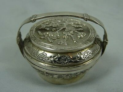 CHINESE EXPORT solid silver MINIATURE BASKET , c1900, 24gm