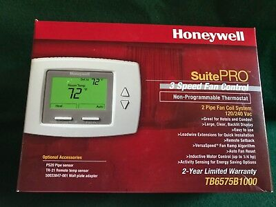New Honeywell Suite Pro 3 Speed Fan Control Non-Programmable Thermostat 120/240V