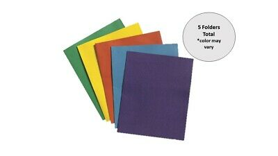 Two-Pocket Folders. Assorted Colors. 5 Each.