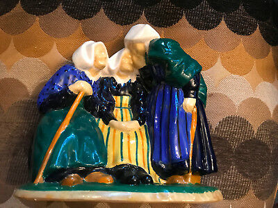 """Quimper Pottery 8x8"""" Three Old Ladies with canes"""