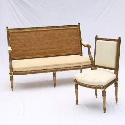 Antique Louis XVI Style Giltwood Settee & Side Chair Salon Suite Carved French