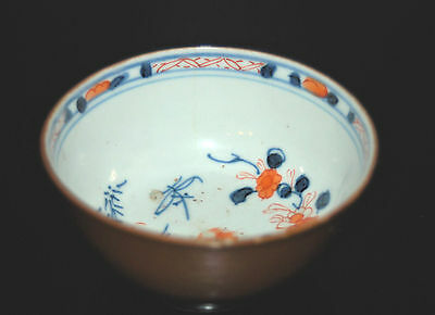 Small Chinese Porcelain Batavian 18Th Export Bowl Polychrome Flowers Hairlines