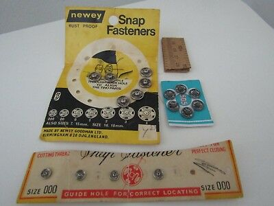 Vintage Sewing Newey Snap Fasteners And Others, Tape Measure, Vintage Poppers