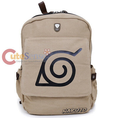 "Naruto Large Backpack Canvas Anime Costume 16"" Bag Leaf Village"