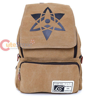 "Naruto Sasuke Large Backpack Canvas Anime Costume 16"" Bag"