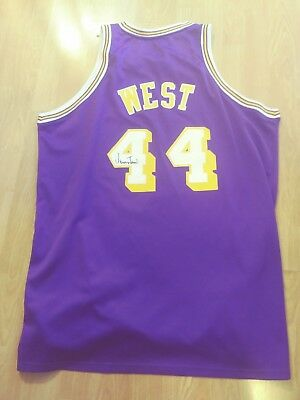 Jerry West LA Los Angeles Lakers Signed NBA XL Purple Jersey West Virginia 134d99e17