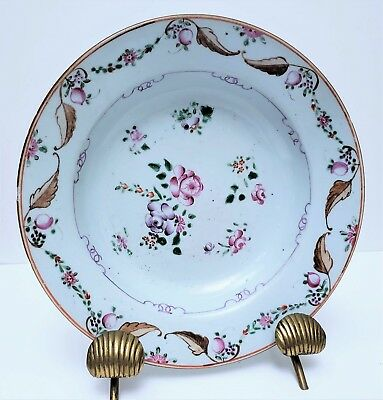 18th c Antique Chinese Export Porcelain Famille Rose Soup Plate