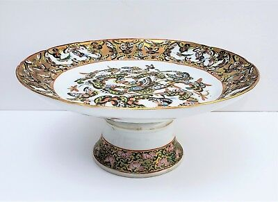 19thc Antique Chinese Export Porcelain 1000 Butterfly Tazza Plate Rose Medallion