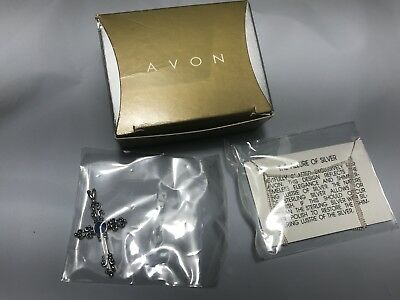 1998 Avon Sterling Silver Lapis Cross Necklace Sealed NOS