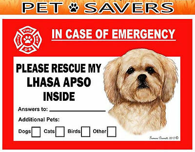 Lhasa Apso Pet Savers Emergency Rescue Window Cling Sticker