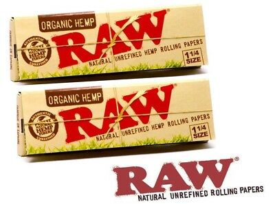 RAW Organic 1 1/4 Rolling Paper - 2 PACKS - 1.25 Natural Cigarette Papers