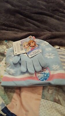 Official Disney Princess Frozen Elsa Kids Girls Beanie Hat Gloves 2 Piece Set
