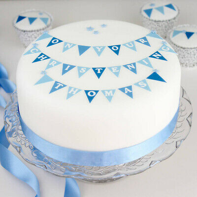 Personalised Boys Baptism Cake Decoration Bunting Kit Topper ANY NAME + DATE