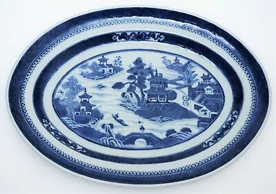 19th c Antique Chinese Export Blue & White Porcelain Canton Platter / Tray 12""