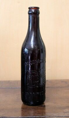 Brown Embossed Glass Beer Bottle McDONAGH & Shea Winnipeg Manitoba Circa 1900's