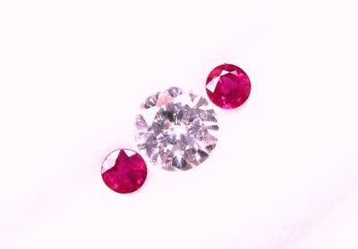 0.58 Cts Tol,  2 Pcs Natural Mined Loose Round Ruby  3.5x2.8  /  3.5x2.9 MM WxD