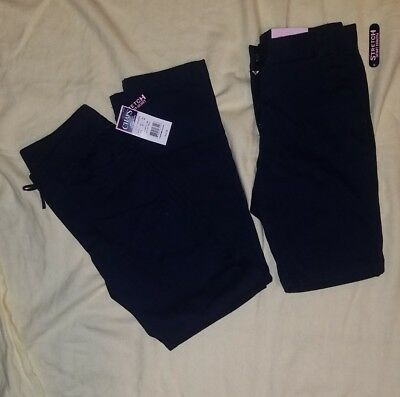2 Pairs Of Girls CHAPS school Uniform Navy Pants And Shorts Size 10
