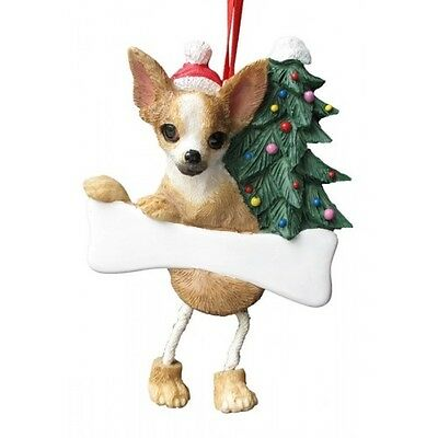 Chihuahua Tan Dangling Wobbly Leg Dog Bone Christmas Ornament