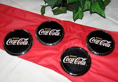 "Set/4 Coca-Cola ""Diner Collection"" Chrome metal coasters Black & Red w Cork Back"