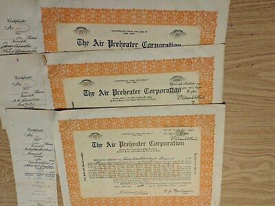 Vintage Preferred Stock Shares Certificates Air Preheater Corporation