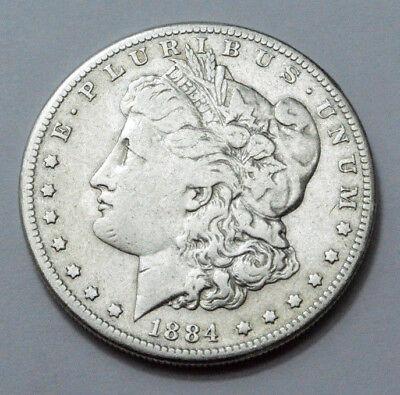 1884-S SCARCE KEY DATE  US Morgan Dollar Silver US Old Coin  , No Reserve !