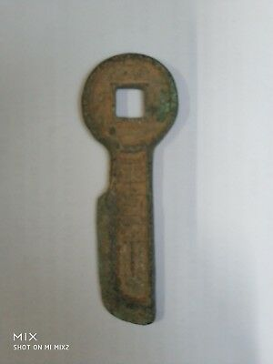 """Ancient Chinese Bronze Coin Old Money Key Shape Currency Cash """"平安吉祥"""""""