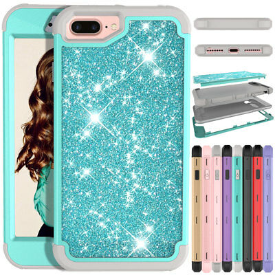 Girl Crystal Bling Shockproof Hard Shell Phone Case Cover For iPhone 8 / 8 Plus