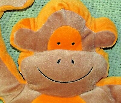 "Natural World MONKEY 18"" PLUSH Flat Stuffed Animal Brown Orange Pillow Chimp Toy"